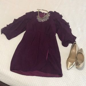 Purple Tibi Ruffle sleeved dress